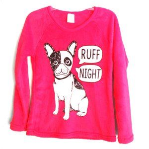 Women's Soft Pj Top Puppy Graphics Long Sleeve Red